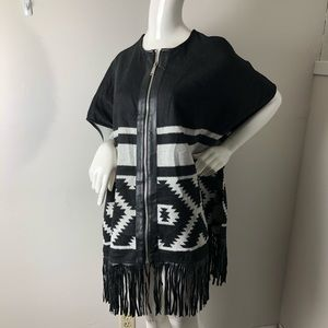 BCBG Navajo Poncho with Faux Leather fringe Boho